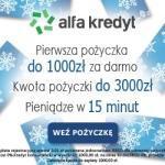 W AlfaKredyt 1000 zł za darmo.