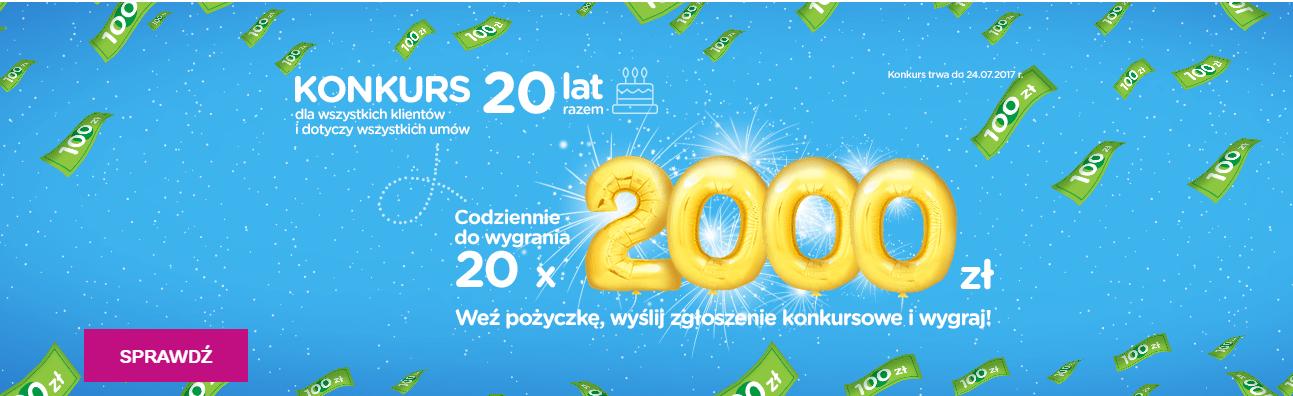 Wygraj 2000 zł w konkurs Provident - 20 lat firmy